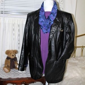 NWOT Women's Aigner black Leather Blazer Sz 14